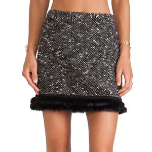 NANETTE LEPORE SKIRT WITH RABBIT FUR TRIM